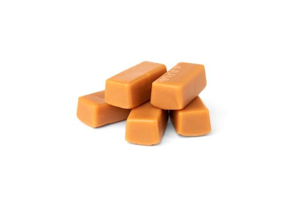 Sweet caramel bars isolated on a white background