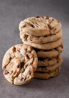 Sweet caramel oatmeeal gluten free cookies on stone background
