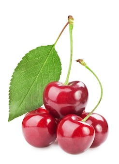 Sweet cherry isolated on white surface