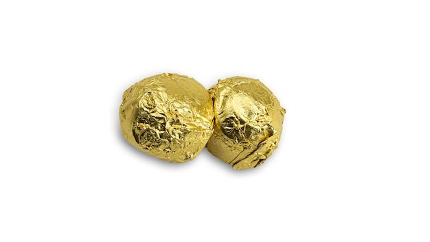 金箔紙で包んだ甘いチョコレート菓子