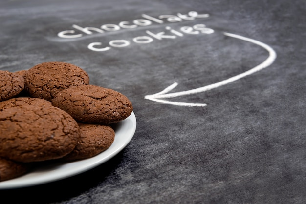 Sweet chocolate cookies  in plate