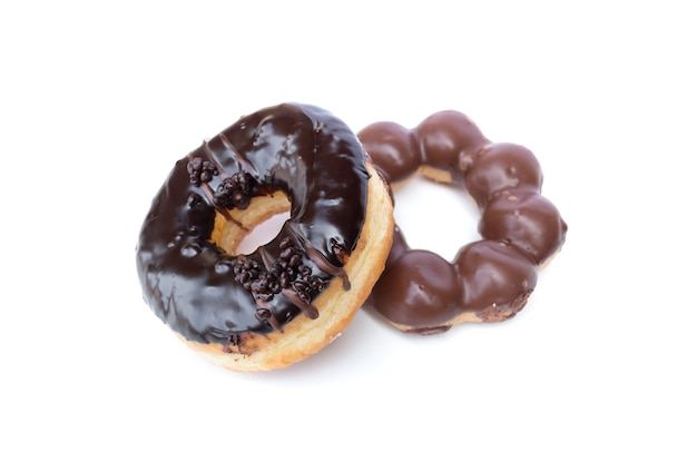 Sweet chocolate donuts isolated on white background