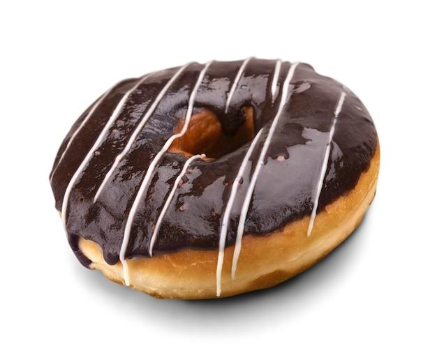 달콤한 초콜릿 아이스 도넛 흰색 절연