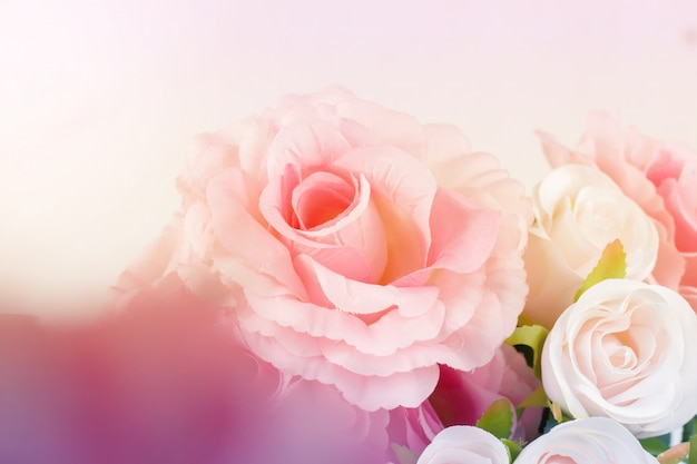 Sweet color fabric roses in soft style for background Premium Photo