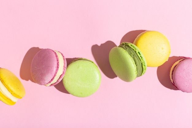 Sweet and colourful french macaroons or macaron dark shadow high quality photo