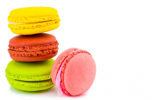 Sweet and colourful french macaroons or macaron, dessert