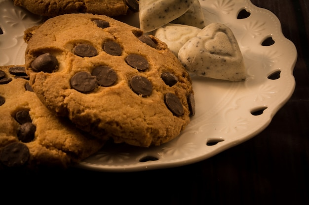 Sweet cookies with chocolate chips. and white chocolate with a heart shape