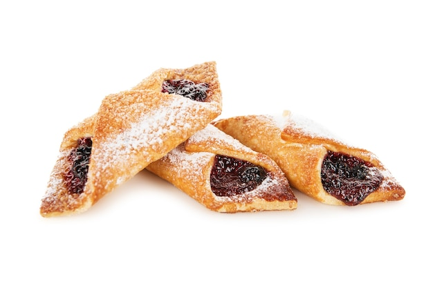 Sweet cookies with jam isolated