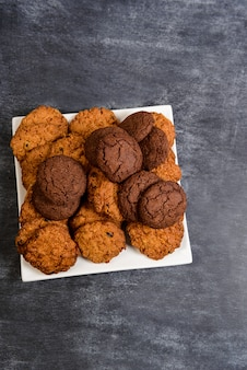 Sweet cookies on wooden table