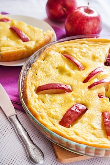 Sweet cottage cheese casserole with apples and free-range eggs