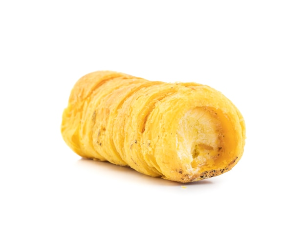 Sweet cream roll bakery food on white background