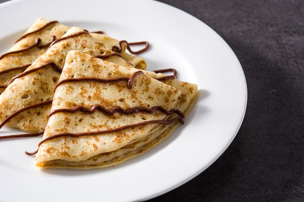 Sweet crepes with chocolate