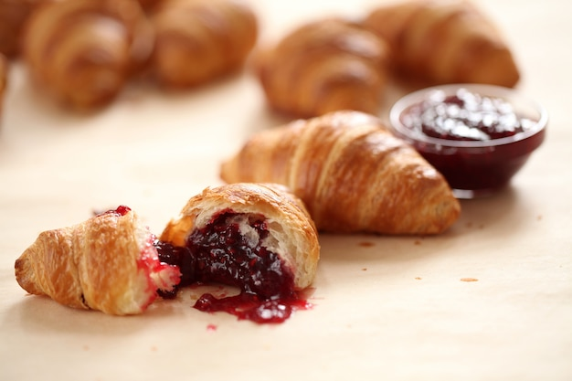 Sweet croissants with berries