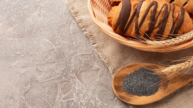Sweet croissants with poppy seeds