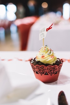 Sweet cupcake on a wedding celebration party