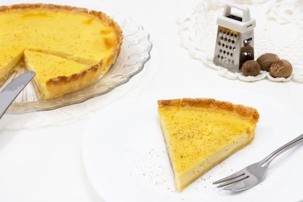 Sweet custard tart or lemon pie