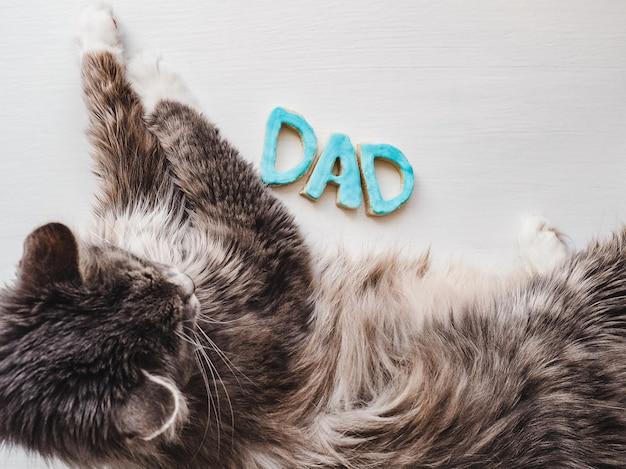 甘い、かわいい子猫とdadという言葉