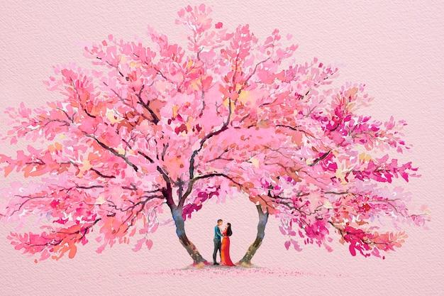 カップルとピンクの木の花との甘い日。コピースペースと紙ピンク色の紙のイラストに抽象的な水彩画