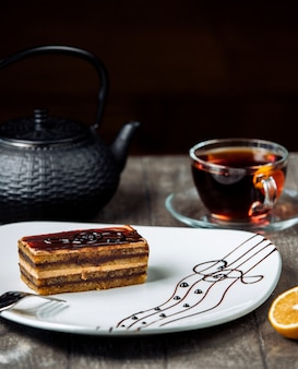 Sweet delight in the plate with black tea