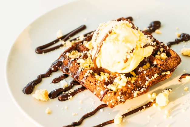 Sweet dessert chocolate waffle with ice cream