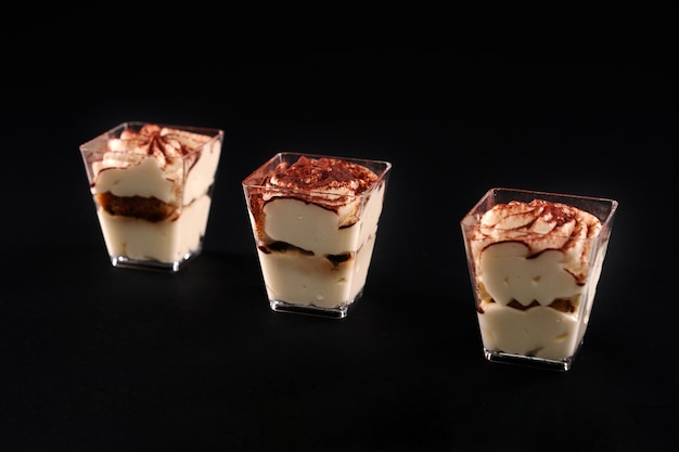 Sweet dessert decorated with bright topping isolated