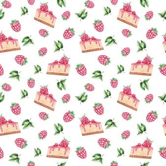 甘いデザート繰り返し背景、ベリーケーキとラズベリーのシームレスなパターン、キャンディーの背景