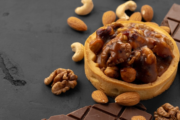 Sweet dessert with chocolate and nuts