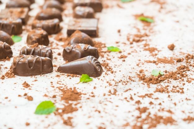 Sweet dessert with dark chocolate