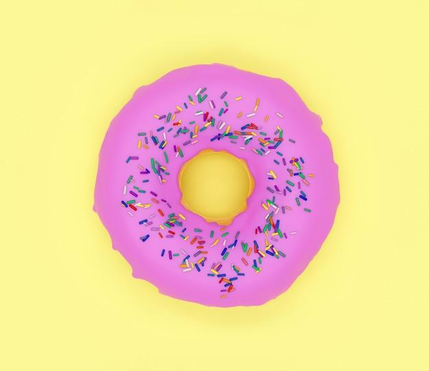 Сладкий пончик с розовой глазурью на желтом фоне, 3d иллюстрация