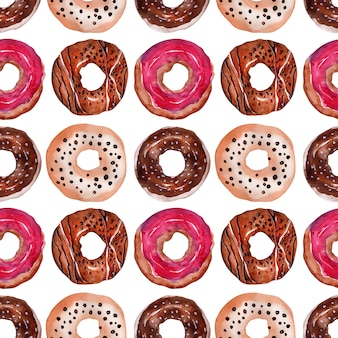 Sweet donuts with sprinkles and icing