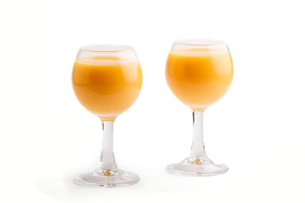 Sweet egg liqueur in glass isolated