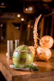 Sweet fresh coconut on the table