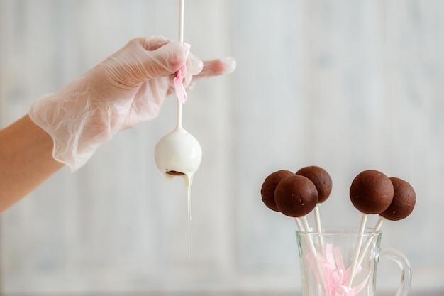 Sweet glazed cake pops. cooking process