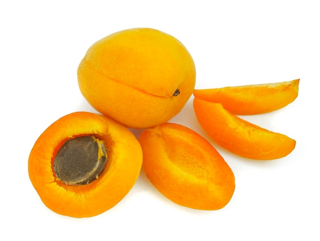 Sweet and healthy apricot on white background, fresh fruits