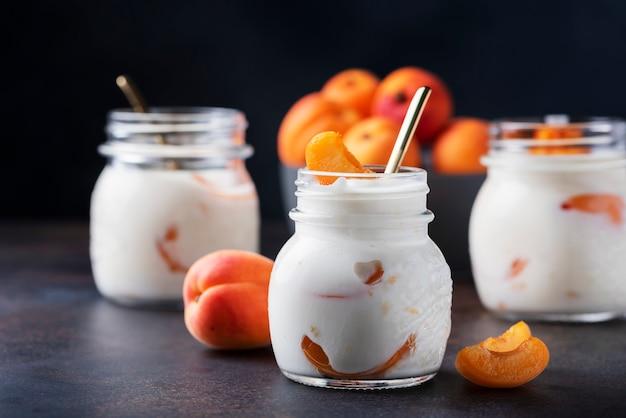 Sweet healthy yogurt with apricots