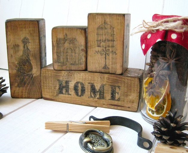 Sweet home wooden cubes