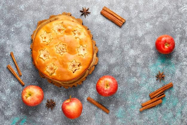 シナモン入りの甘い自家製アップルケーキ。