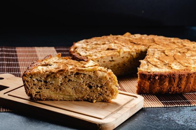Sweet homemade apple cake with cinnamon