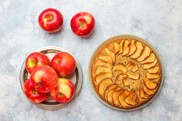 Sweet homemade apple cake with cinnamon