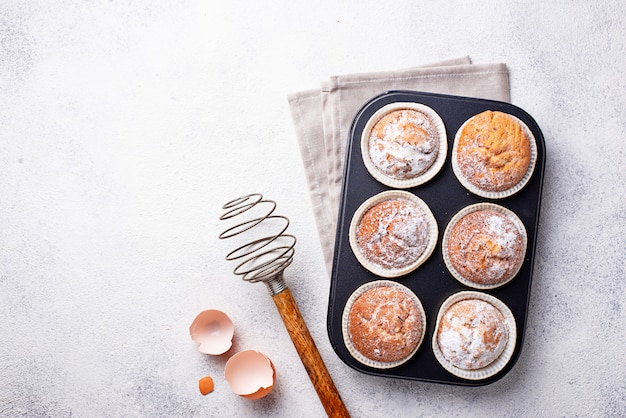 Sweet homemade cupcakes in backing dish