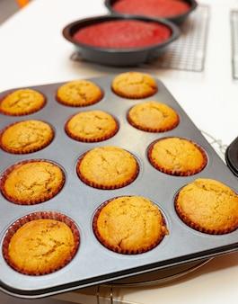 Sweet homemade gingerbread muffins.
