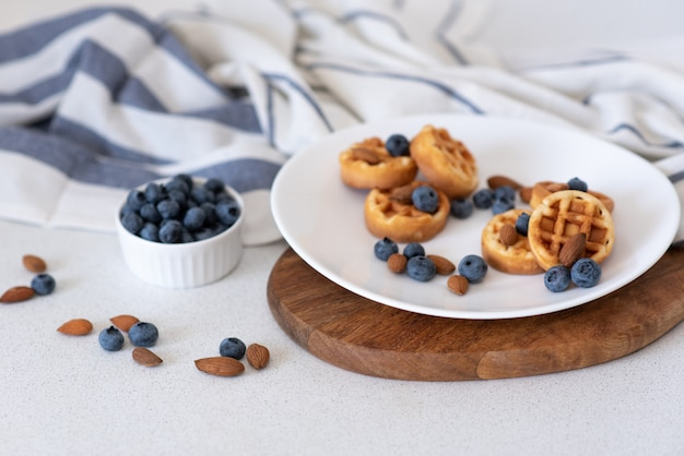 Sweet homemade waffles on plate