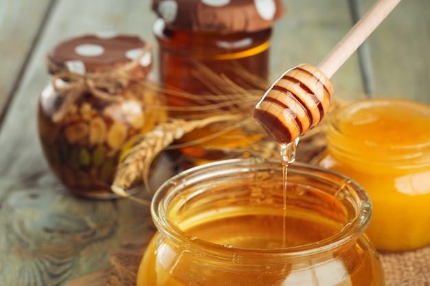 Sweet honey in glass jar.