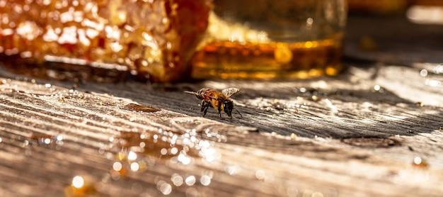 유기농 천연 재료로 만든 달콤한 벌집, 꿀벌 제품