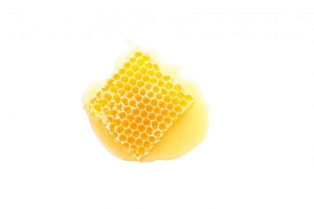 Sweet honeycomb isolated on white background, top view