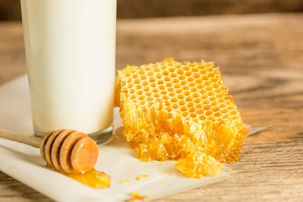 Sweet honeycomb on wooden table