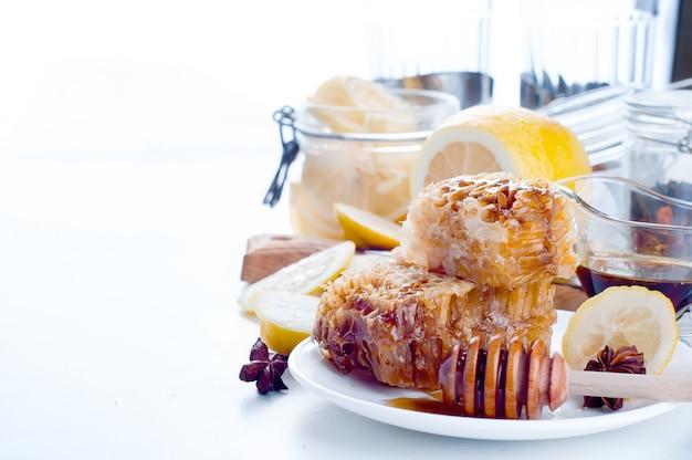 Sweet honeycombs with lemon