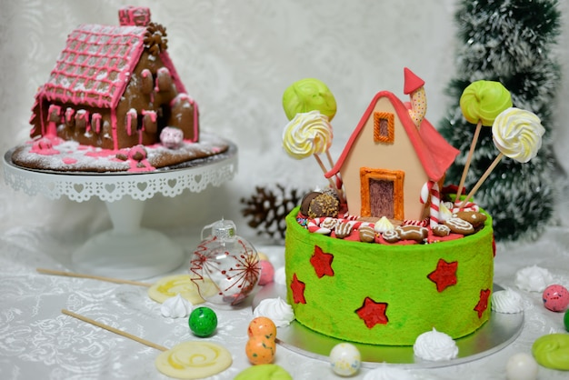 The sweet house of the fairy tale hansel and gretel cake by grimm brothers in the fairy tale forest