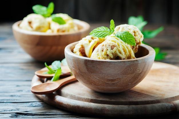 Sweet ice cream with mint