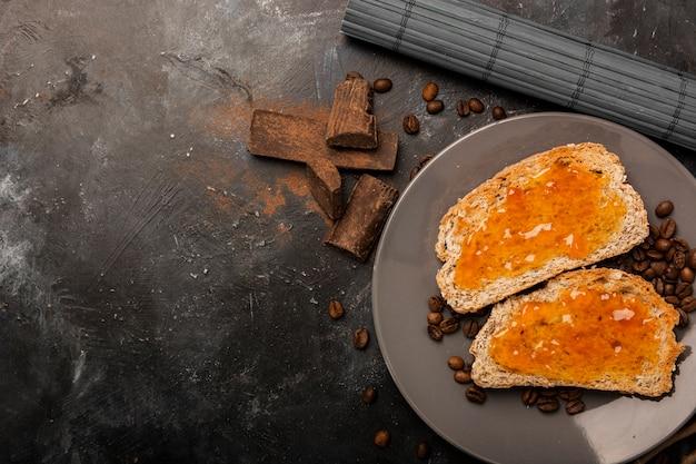 Sweet jam on bread close up